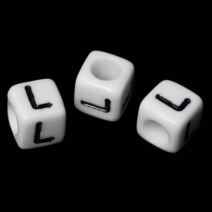 "100 Letter ""L"" Black on White Acrylic Alphabet Cube Spacer Beads 6mm Approx 1/4 Inch"