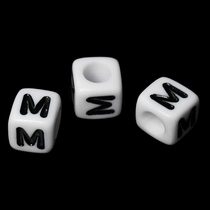 "100 Letter ""M"" Black on White Acrylic Alphabet Cube Spacer Beads 6mm Approx 1/4 Inch"