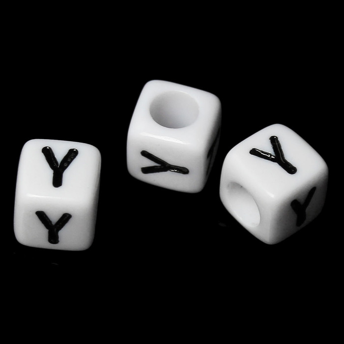 """100 Letter """"Y"""" Black on White Acrylic Alphabet Cube Spacer Beads 6mm Approx 1/4 Inch"""