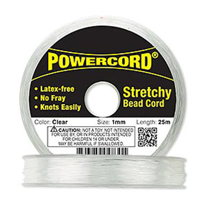 Powercord® Elastic Streatch Cord Clear 1mm 14-lb Test 25-Meter Latex-Free