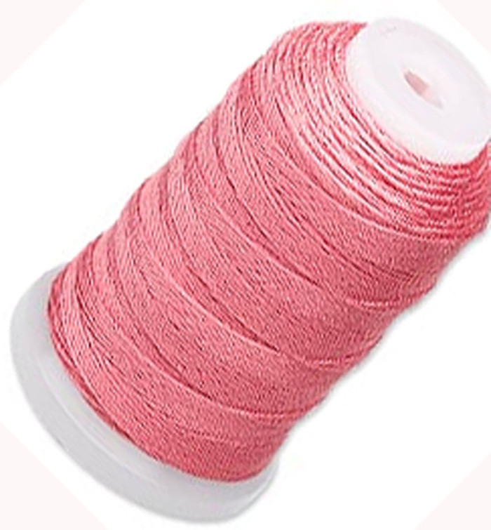 Simply Silk Beading Thick Thread Cord Size FFF (0.016 Inch 0.42mm) Spool 92 Yards Compatible with Kumihimo Super Lon (Coral)