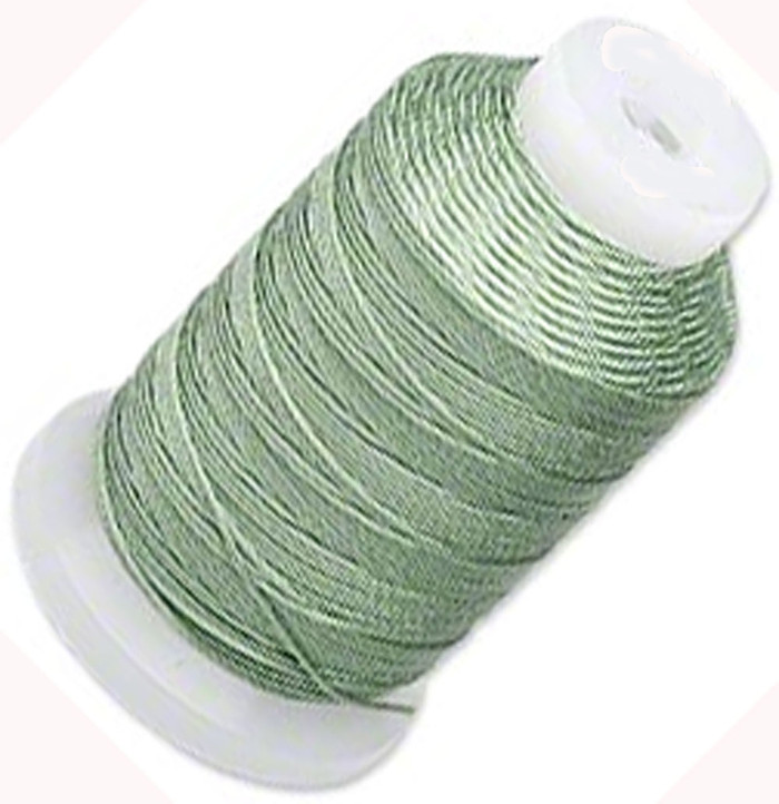 Simply Silk Beading Thick Thread Cord Size FFF (0.016 Inch 0.42mm) Spool 92 Yards Compatible with Kumihimo Super Lon (Med Green)