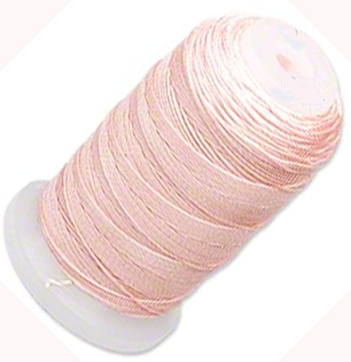 Simply Silk Beading Thick Thread Cord Size FFF (0.016 Inch 0.42mm) Spool 92 Yards Compatible with Kumihimo Super Lon (Pink)