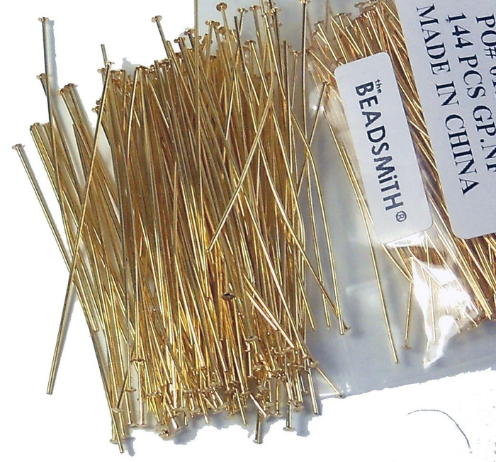 400 Head Pins 020dia X 1 Inch Gold Plated Thin 24 Gauge Wire