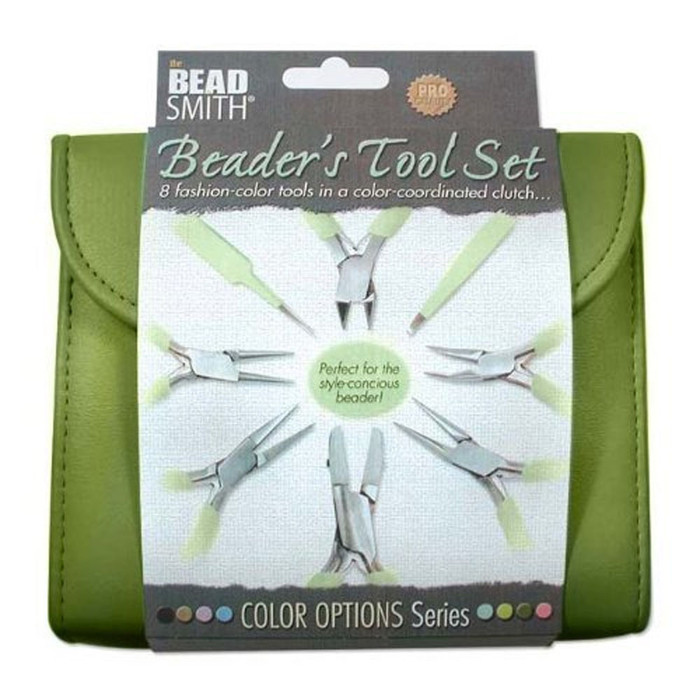 Beadsmith 8 Fashion- Olive Color Tool Set for Making Jewelry +Clutch Carry Case