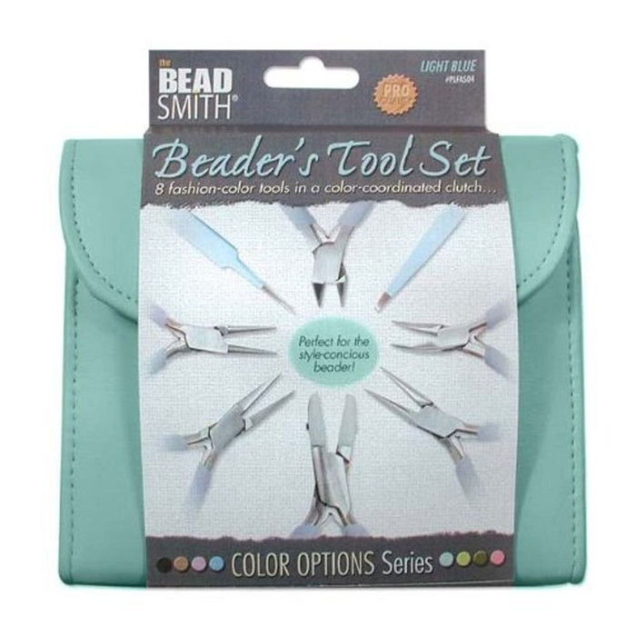 Beadsmith 8 Fashion Blue Color Tool Set for Making Jewelry +Clutch Carry Case