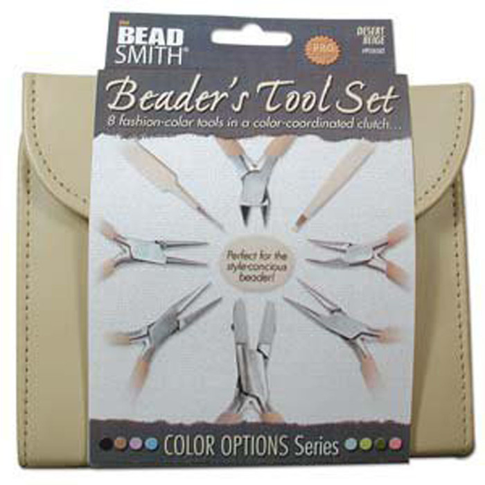 Beadsmith 8 Fashion Tan Color Tool Set for Making Jewelry Clutch Carry Case