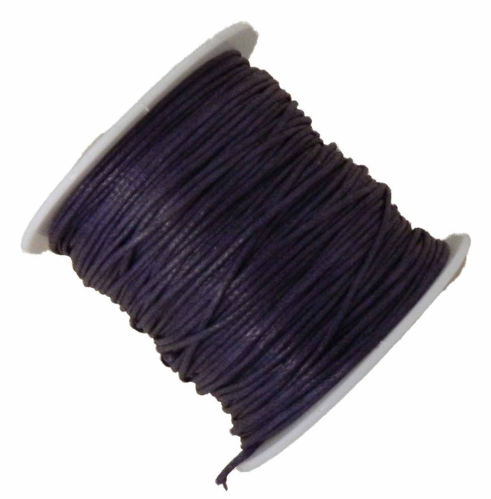 1mm Waxed Cotton Jewelry Macrame Craft Cord 80 Yards Wolven Round Purple