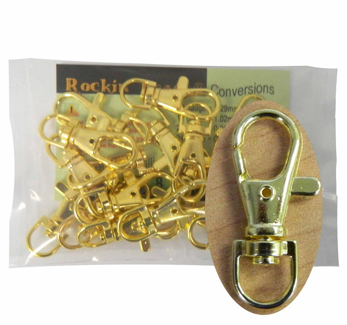 Gold Plated Lobster Claw Swivel Clasps for Key Ring 1 3/8 X 1/2 Inch