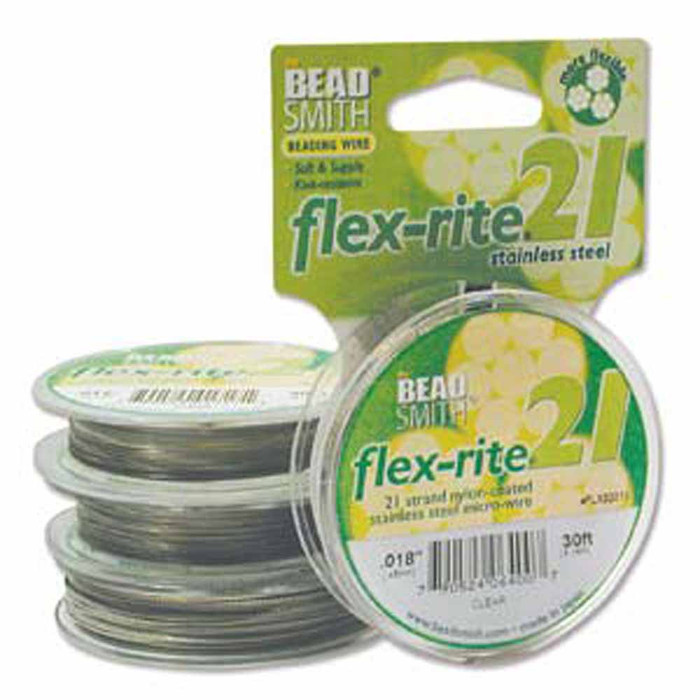 "21 Strand Clear Coated Flex Rite Beading Stringing Wire .018"" 30'"
