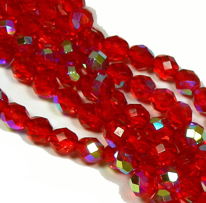 24 Firepolish Faceted Czech Glass Beads 8mm AB Siam Ruby