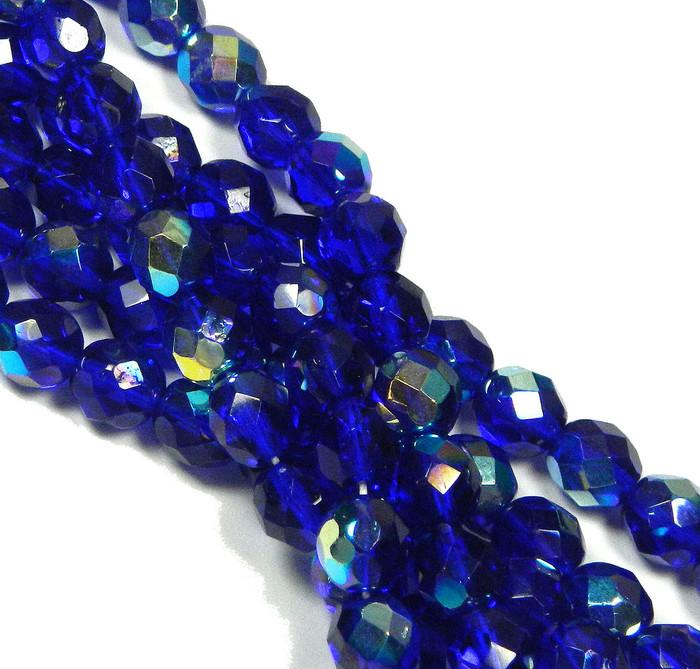 24 Firepolish Faceted Czech Glass Beads 8mm AB Cobalt