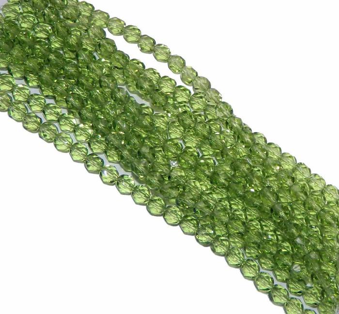 24 Firepolish Faceted Czech Glass Beads 8mm  Prairie Green