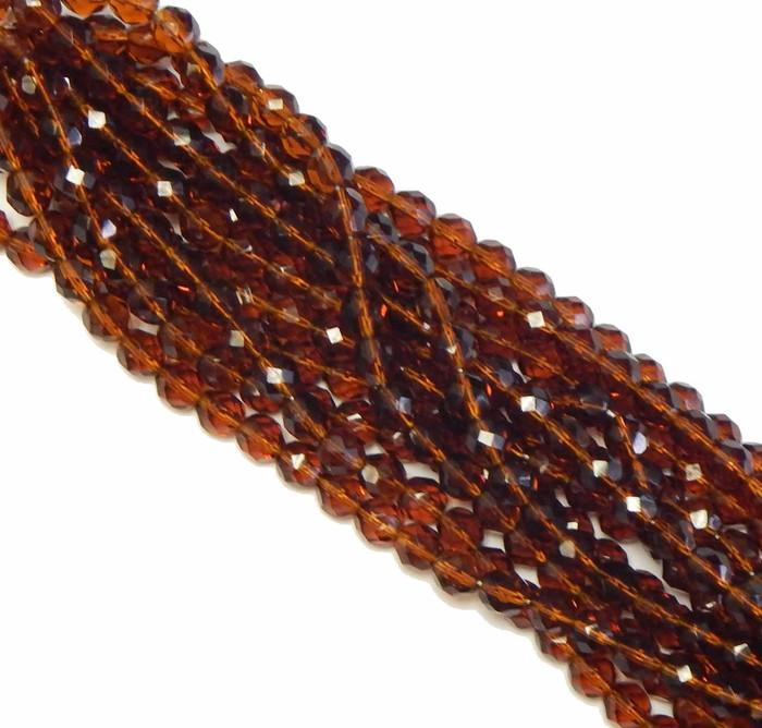 24 Firepolish Faceted Czech Glass Beads 8mm Dark Topaz