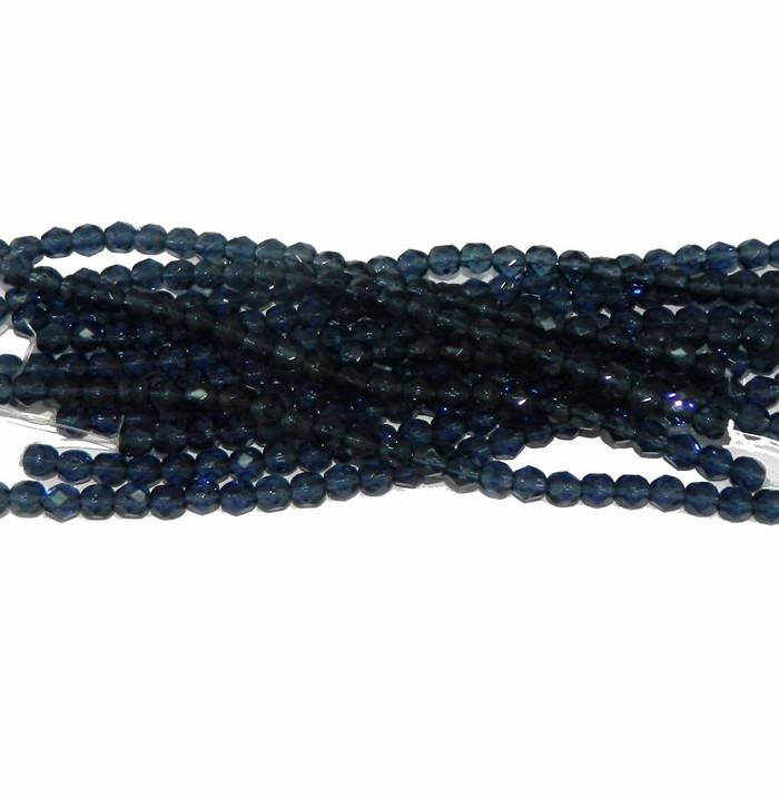 48 Firepolish Faceted Czech Glass Beads 4mm Montana Blue