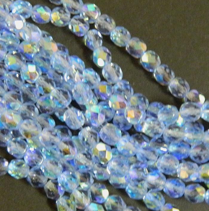 24 Firepolish Faceted Czech Glass Beads 6mm AB Lt. Sapphire