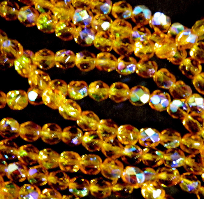 24 Firepolish Faceted Czech Glass Beads 6mm AB Dark Topaz