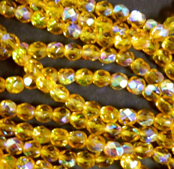 24 Firepolish Faceted Czech Glass Beads 6mm AB Medium Topaz