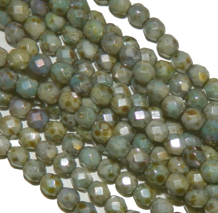 24 Firepolish Faceted Czech Glass Beads 6mm  Luster Opaque Green