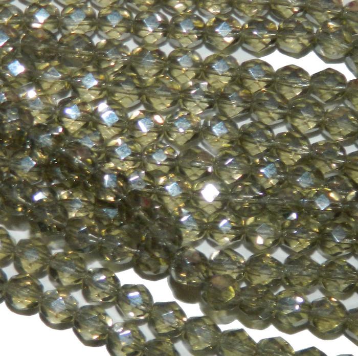 24 Firepolish Faceted Czech Glass Beads 6mm  Luster Black Diamond