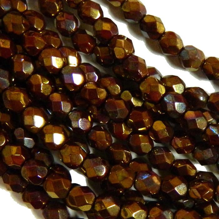24 Firepolish Faceted Czech Glass Beads 6mm  Bronze Luster Opaque Red