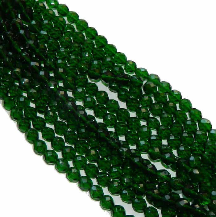 24 Firepolish Faceted Czech Glass Beads 6mm Green Emerald