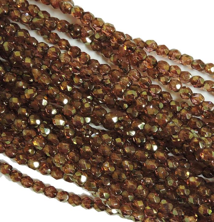 48 Firepolish Faceted Czech Glass Beads  4mm  Luster Rose/Gold Topaz