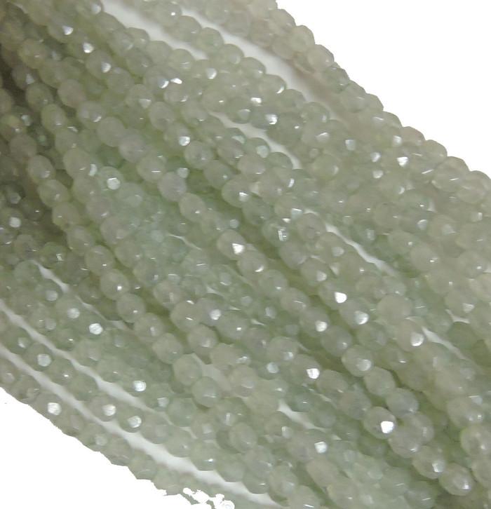 48 Firepolish Faceted Czech Glass Beads  4mm Luster Stone Green