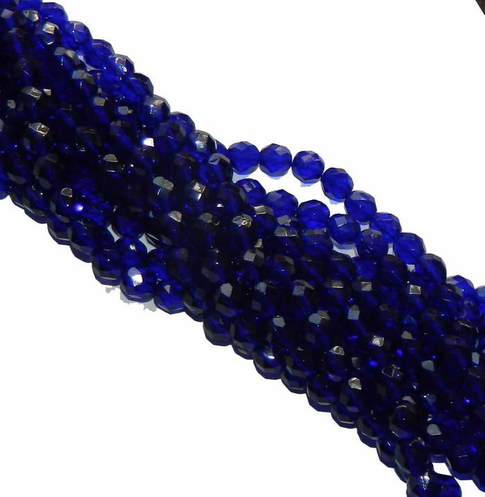 48 Firepolish Faceted Czech Glass Beads  4mm Cobalt