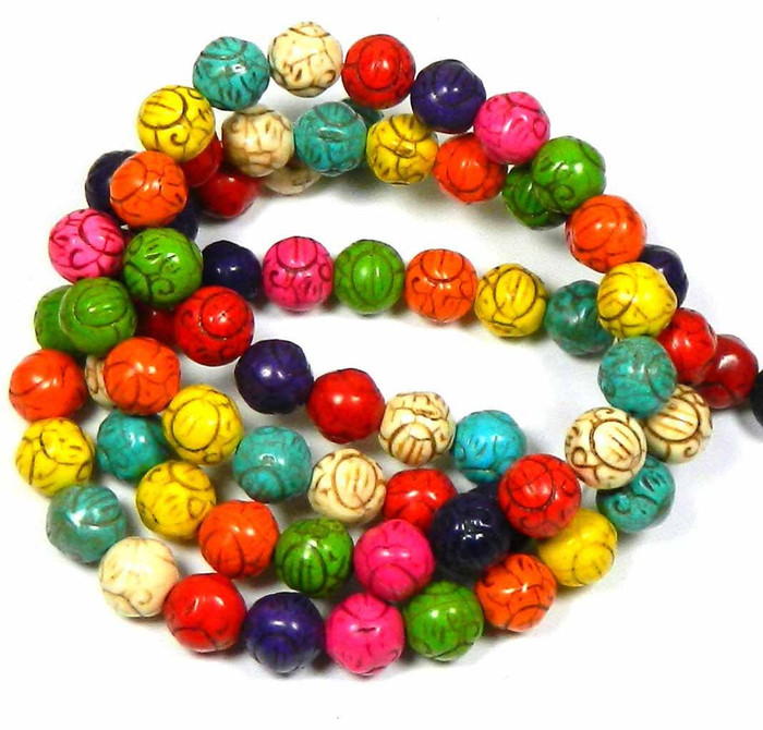 10mm Carved Round Rondelle Beads Chalk Turquoise Dyed/Stabilized Mix  Beads 15""