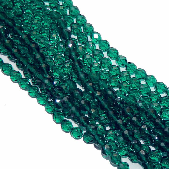 48 Firepolish Faceted Czech Glass Beads 4mm Emerald