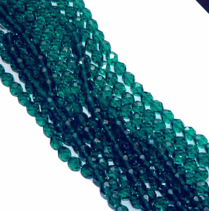 24 Firepolish Faceted Czech Glass Beads 6mm Blue Zircone