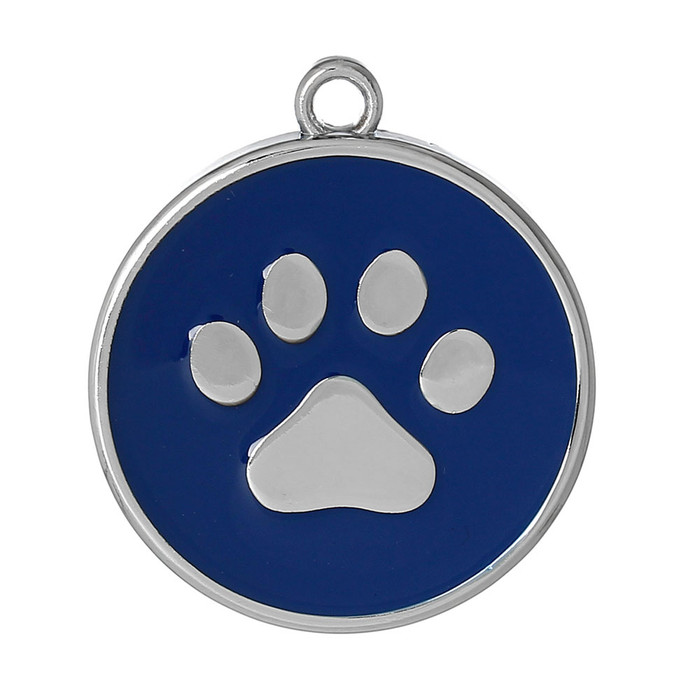 10 Blue Paw Pendants 30mm Round with 2.5mm Hole