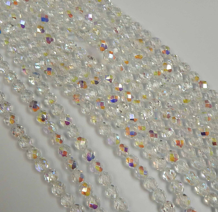 24 Firepolish Faceted Czech Glass Beads 8mm AB Crystal Clear