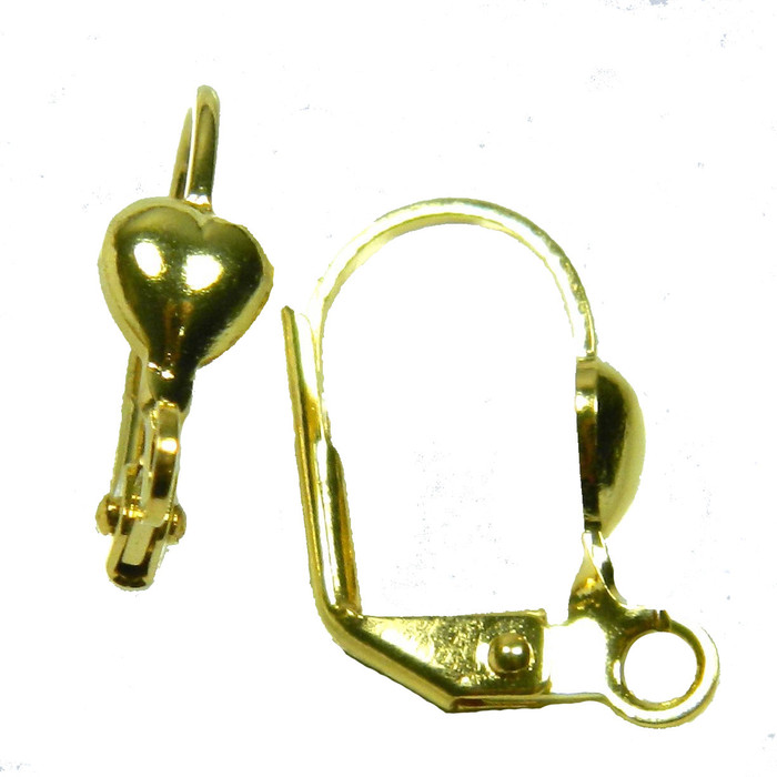 48 Leaver Back Gold-plated Brass 16mm Leverback 5x5mm Heart Open Loop 24 Pairs