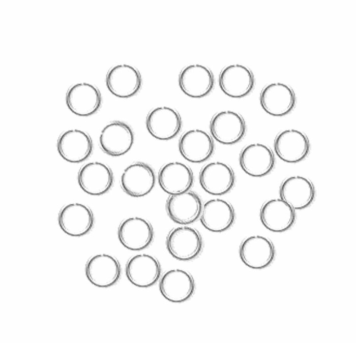 100 Jump Rings , Silver-plated, 5mm Round, 22 Gauge Open