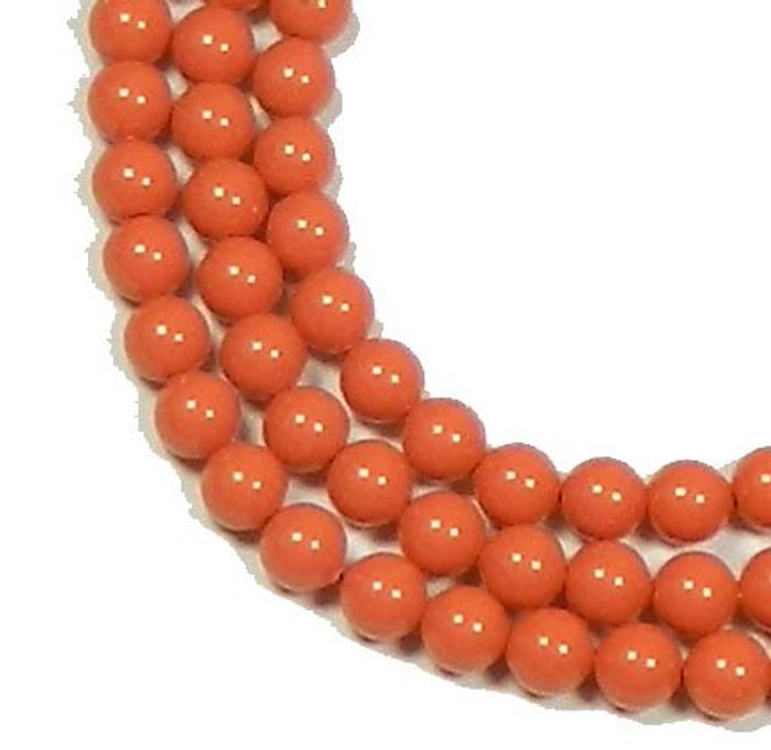 "100 Swarovski Crystal Pearls 4mm Round Beads 5810. 16"" Loose Strand Coral"