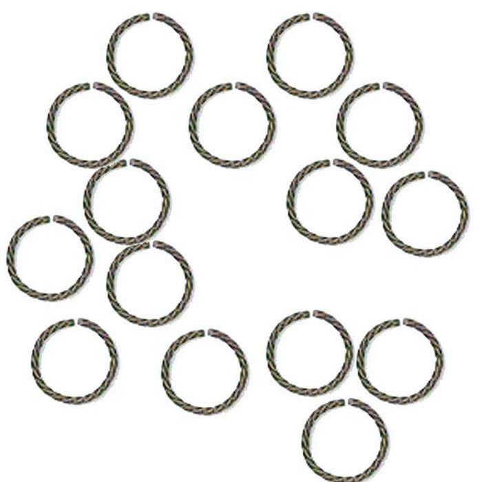 100 Jump Rings, Antiqued Silver-plated Brass, 8mm Twisted Round, 20 Gauge Open