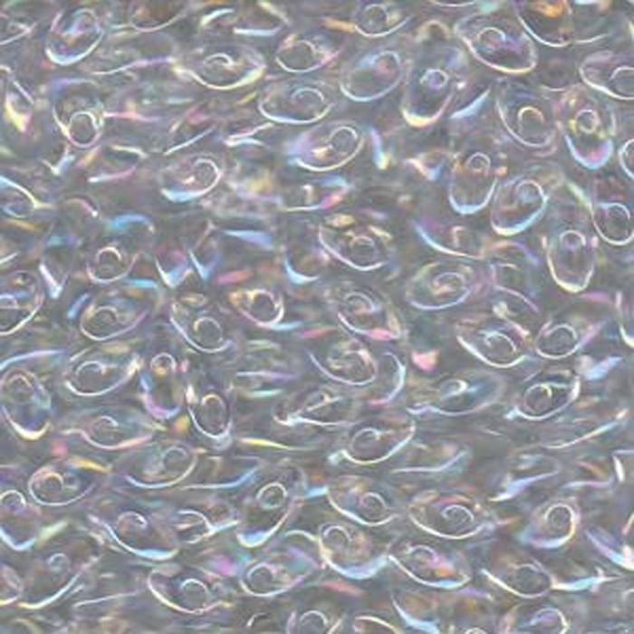 100 grams Clear Rainbow Ab 4x7mm Miyuki Long Magatama Glass Fringe Beads