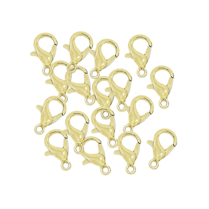 48 Gold Plated Lobster Claw Jewelry Finding Clasps 6x12mm