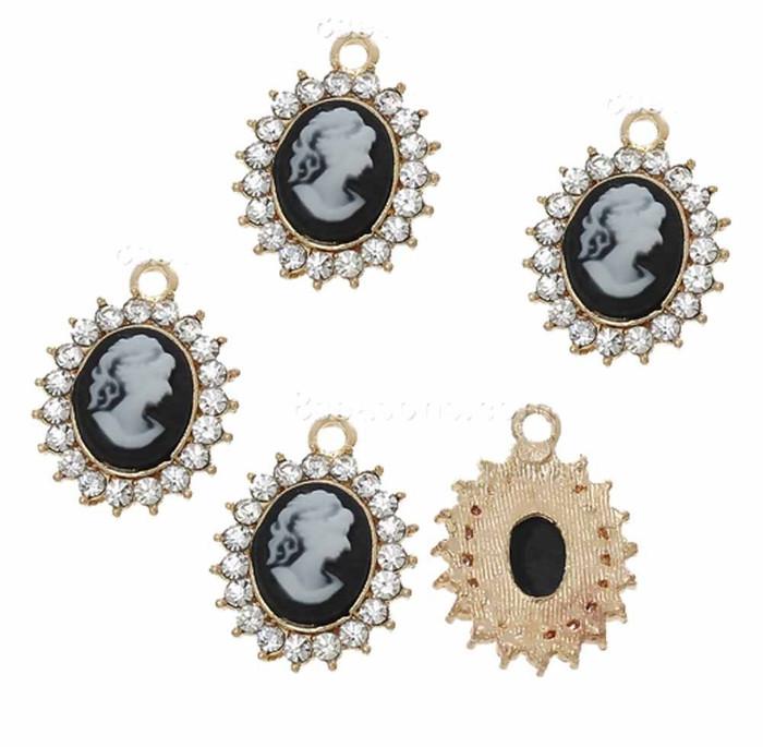5 Charm Pendants One Sided Beads Resin Camio Rinestones 19x14mm