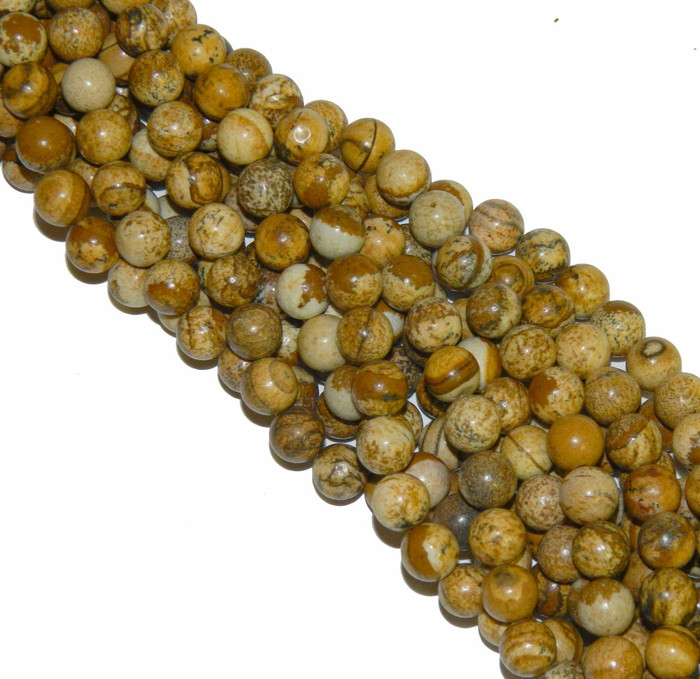 "10mm Picture Jasper Round Beads 40cm 15"" Gemstone"