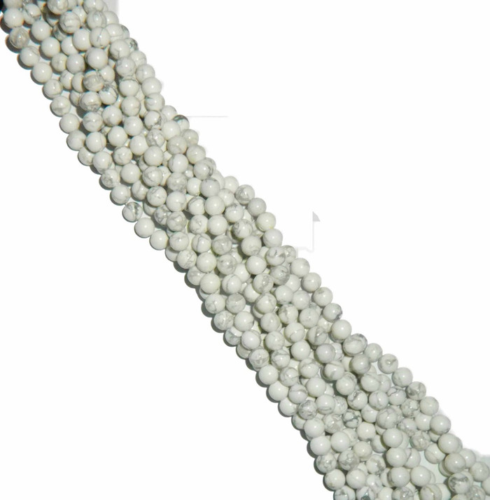 "4mm White Howlite Natural  Round Beads 40cm 15""  Stone"