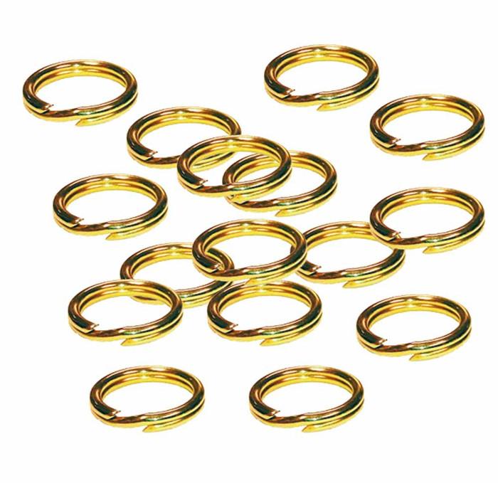 24 Split Ring  Lanyard, Dog Tag  Polished Brass 7/8 inch 22.5mm USA