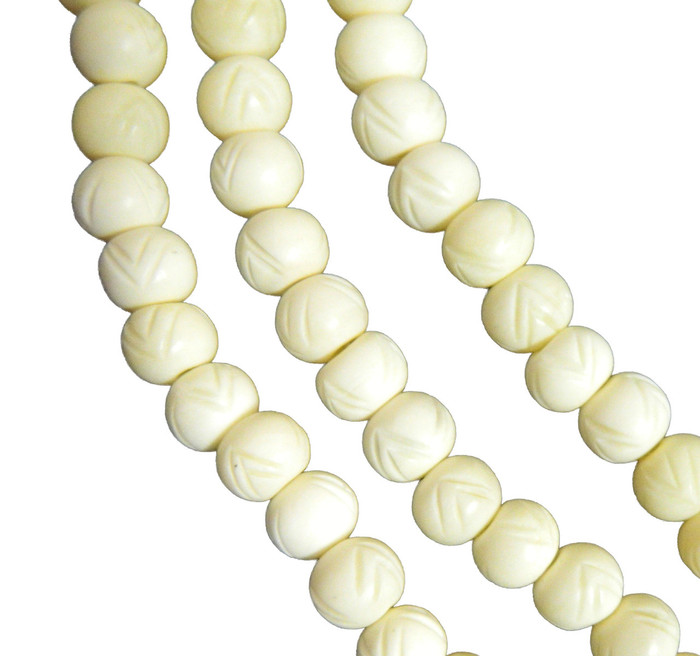 "12mm Carved Rondelle Genuine Natural Bone Beads Aprx 8"" Loose Strand"