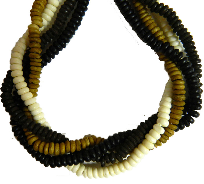 "4x6mm Rondelle 4 Color Mix Genuine Bone Beads Aprx 60"" Strand 500 beads"