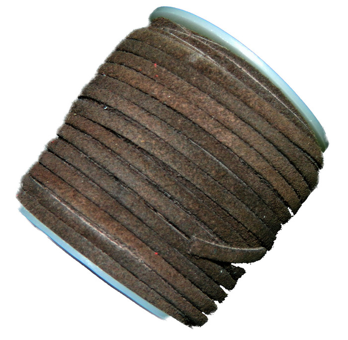 Chocolate Brown 4mm Flat Suede Lace Leather Cord 25 Yard Spool 4x1.5mm