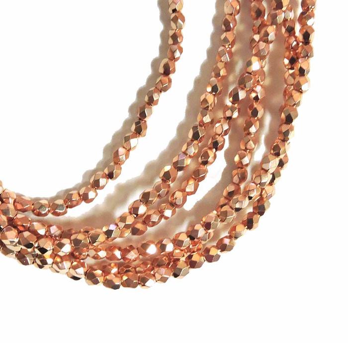 Copper Plate 3mm Faceted Firepolish Czech Glass 48 beads