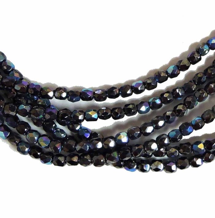 Jet Hemitiite AB 3mm Faceted Firepolish Czech Glass 48 beads