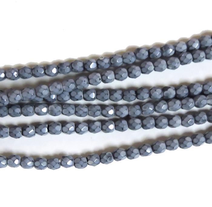 Fog 3mm Snake Skin Faceted Firepolish Czech Glass 48 beads